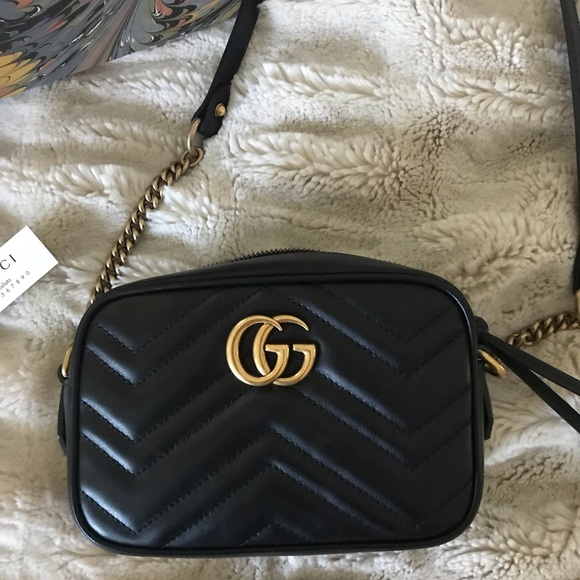 4b6018b0b8b AUTHENTIC GG Marmont matelassé mini bag